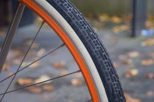 Bike Tire With Orange Rim